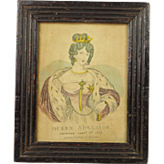 Antique Miniature Engraving Queen Adelaide English Lovely Frame Circa 1831