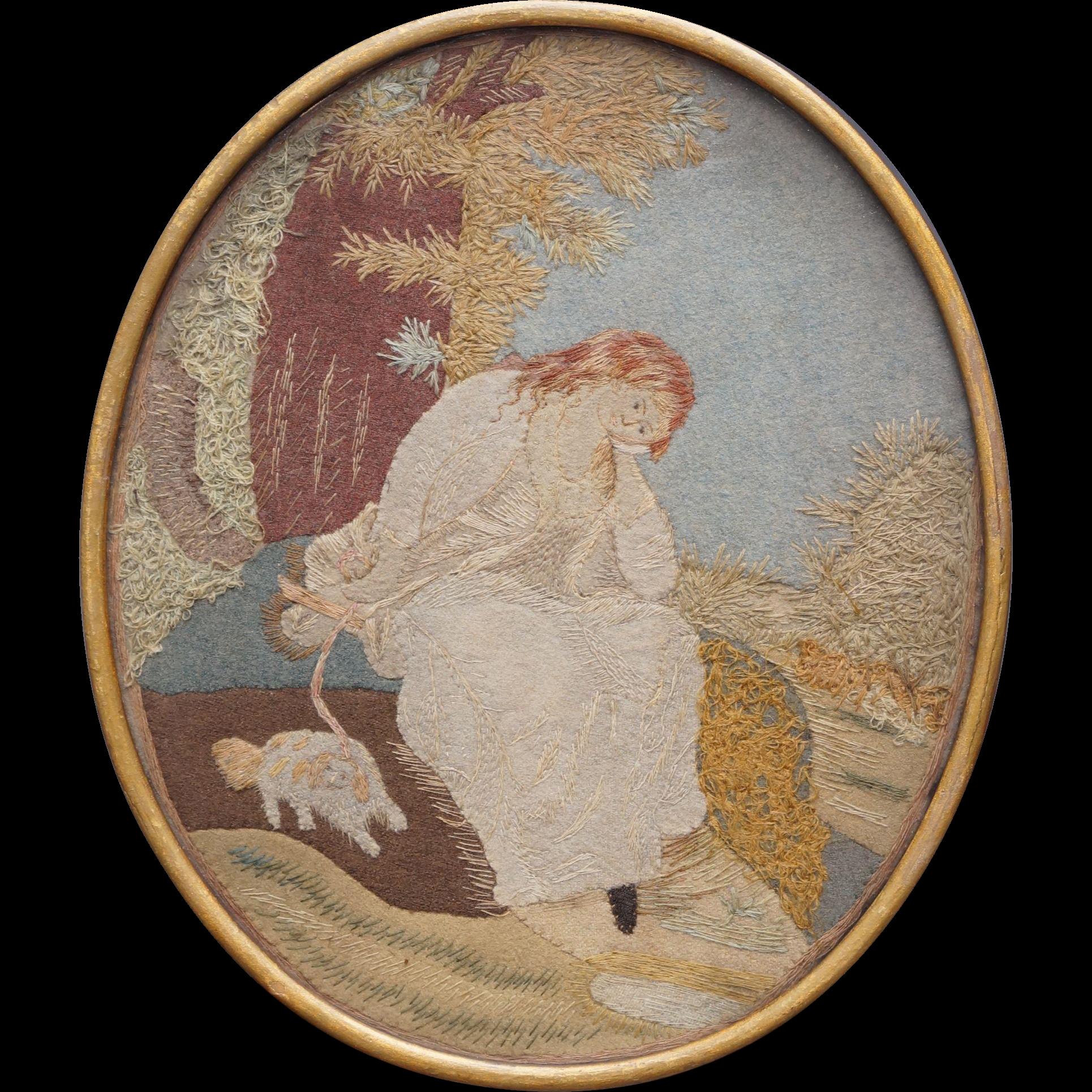 Antique 18th Century Needlework Picture Pair Circa 1790