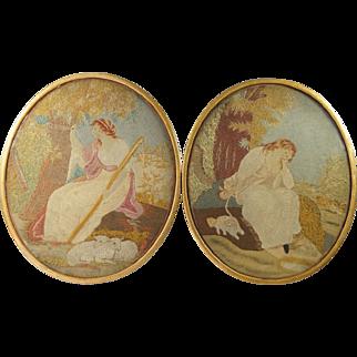 Antique 18th century Pair English Needlework Felt Work Dog Embroideries Georgian Circa 1790
