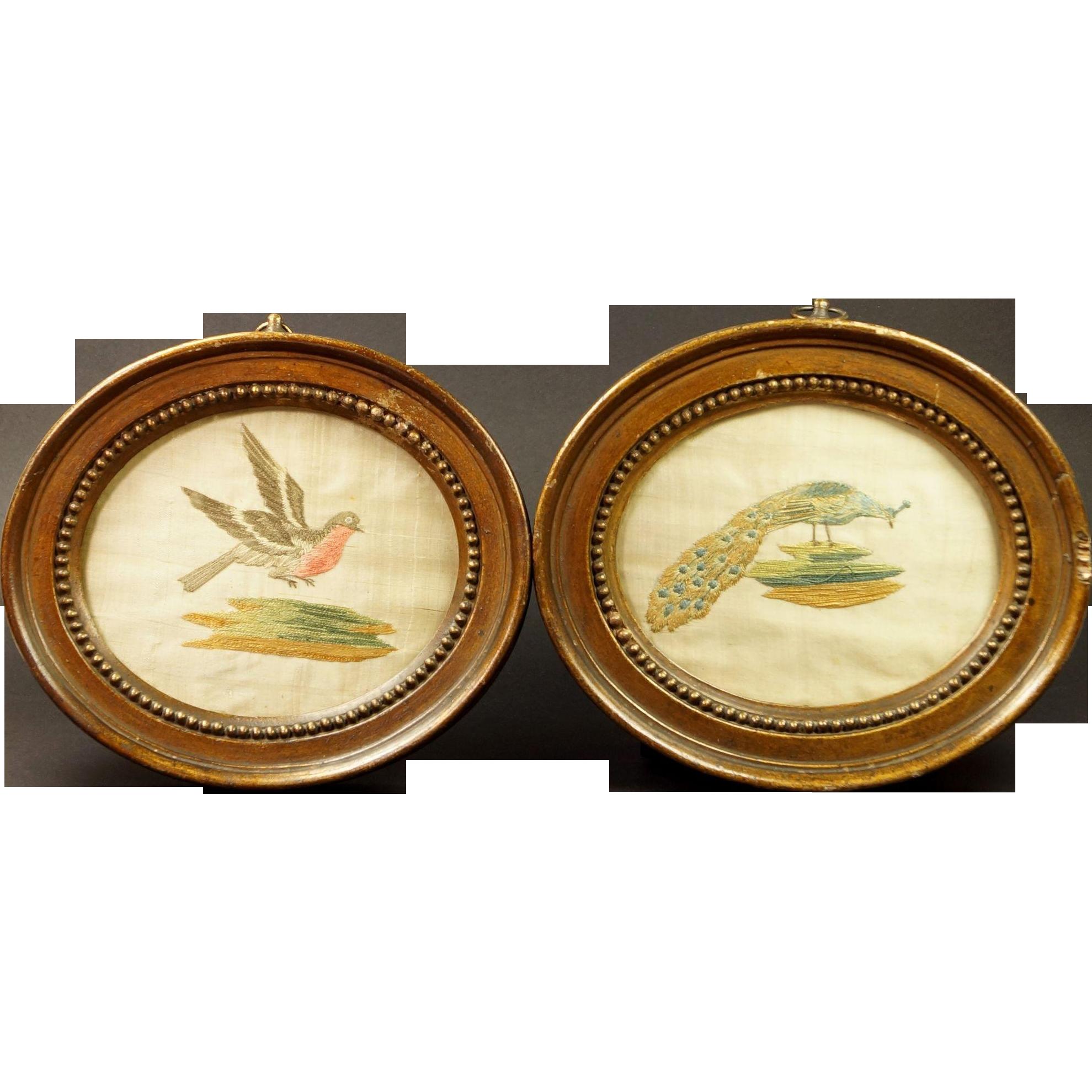 Antique 18th Century Miniature Needlework Pair Birds Circa 1780s