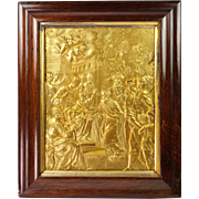 Antique French Fire Gilded Religious Relief Panel Adoration of the Magi Circa 1870