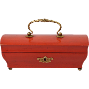 French Palais Royal Red Painted Casket Box Circa 1840
