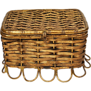 Antique 19th Century French Gilt Dolls Hamper Casket Circa 1880