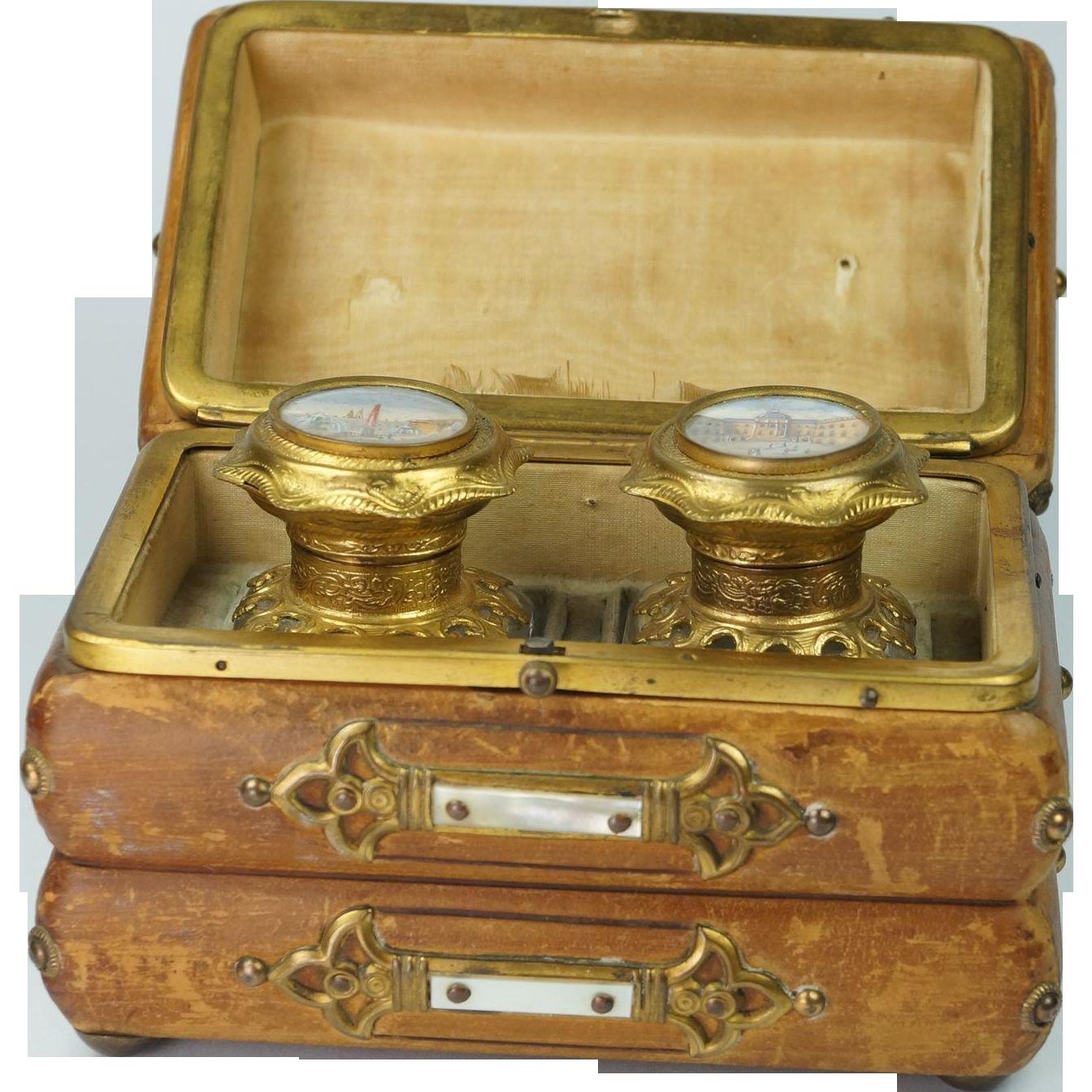 Antique French Scent Casket Perfume Caddy Grand Tour Views of Paris Circa 1850