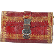 Early 19th Century Red Morocco Leather Wallet Pocket Book Gilt Tooled Cut Steel Expandable Clasp Circa 1820 AF