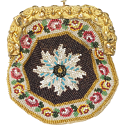 RESERVED FOR D Circa 1815 French Beaded Coin Purse Beadwork Pinchbeck Frame Regency Era