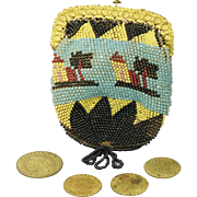 French Early 19th Century Beaded Coin Purse Gilt Pinchbeck Frame Beadwork Circa 1815 Georgian