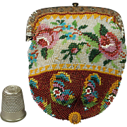 Early 19th Century Beaded Purse Steel Frame Beadwork English Circa 1815 Georgian