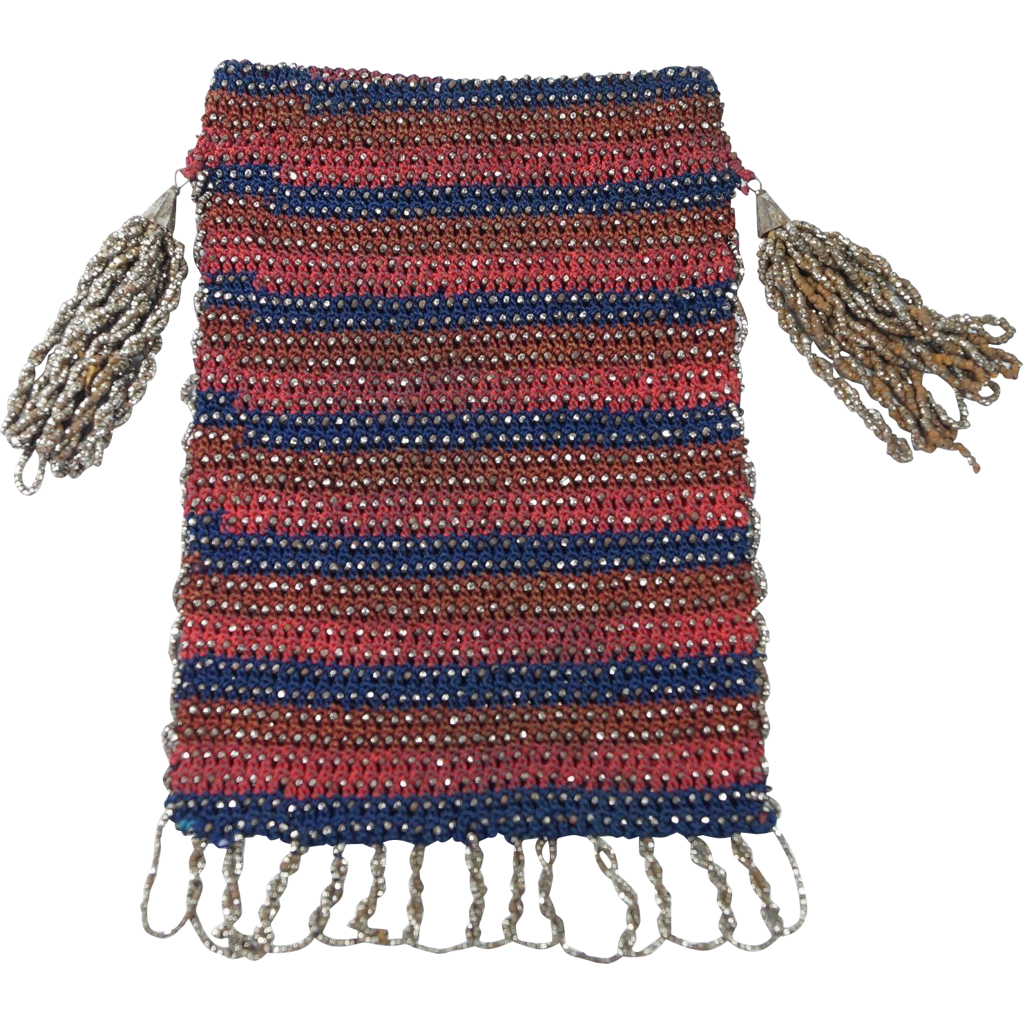 Early 19th Century Purse Netted Silk Cut Steel Beadwork Circa 1830's