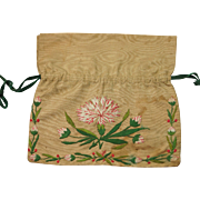 Georgian Silk Embroidered Reticule Work bag Purse English Circa 1800 With Provenance
