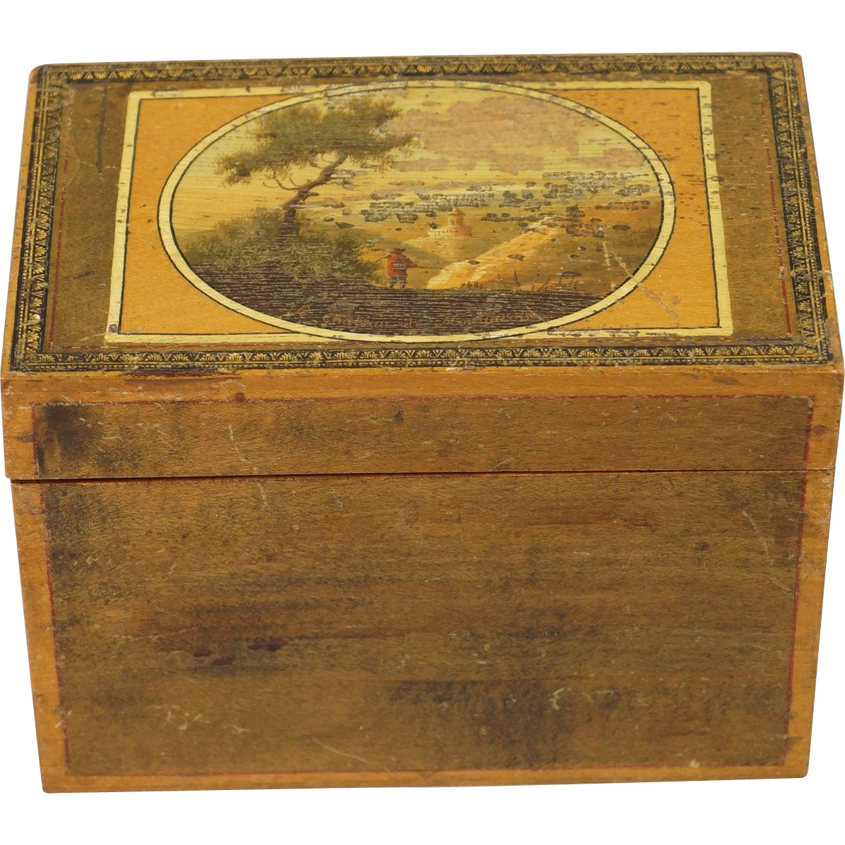 Antique Early 19th century Miniature Sewing Box Grand Tour Circa 1815