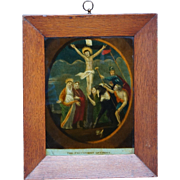 Antique Reverse Print on Glass English Georgian Circa 1800 Later Frame The Crucifixion