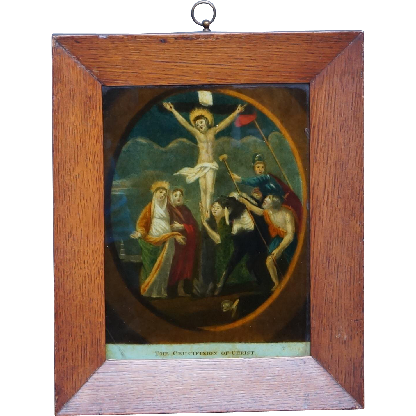 Antique 19th Century Reverse Glass Print The Crucifixion Circa 1800 Later Frame