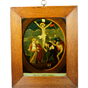 Early 19th Century Reverse Glass Print English Circa 1800 Later Frame