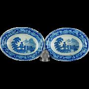 19th Century Toy Miniature Pearlware Dish x 2 Blue And White Transferware Georgian Circa 1810 AF