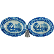 19th Century Toy Miniature Pearlware Dish x 2 Blue And White Transferware Georgian Circa 1810 AF