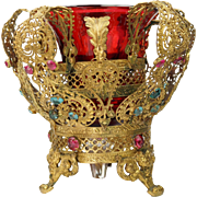 Antique French Gilt Filigree Jeweled Cranberry Vase Crown Shape Circa 1900