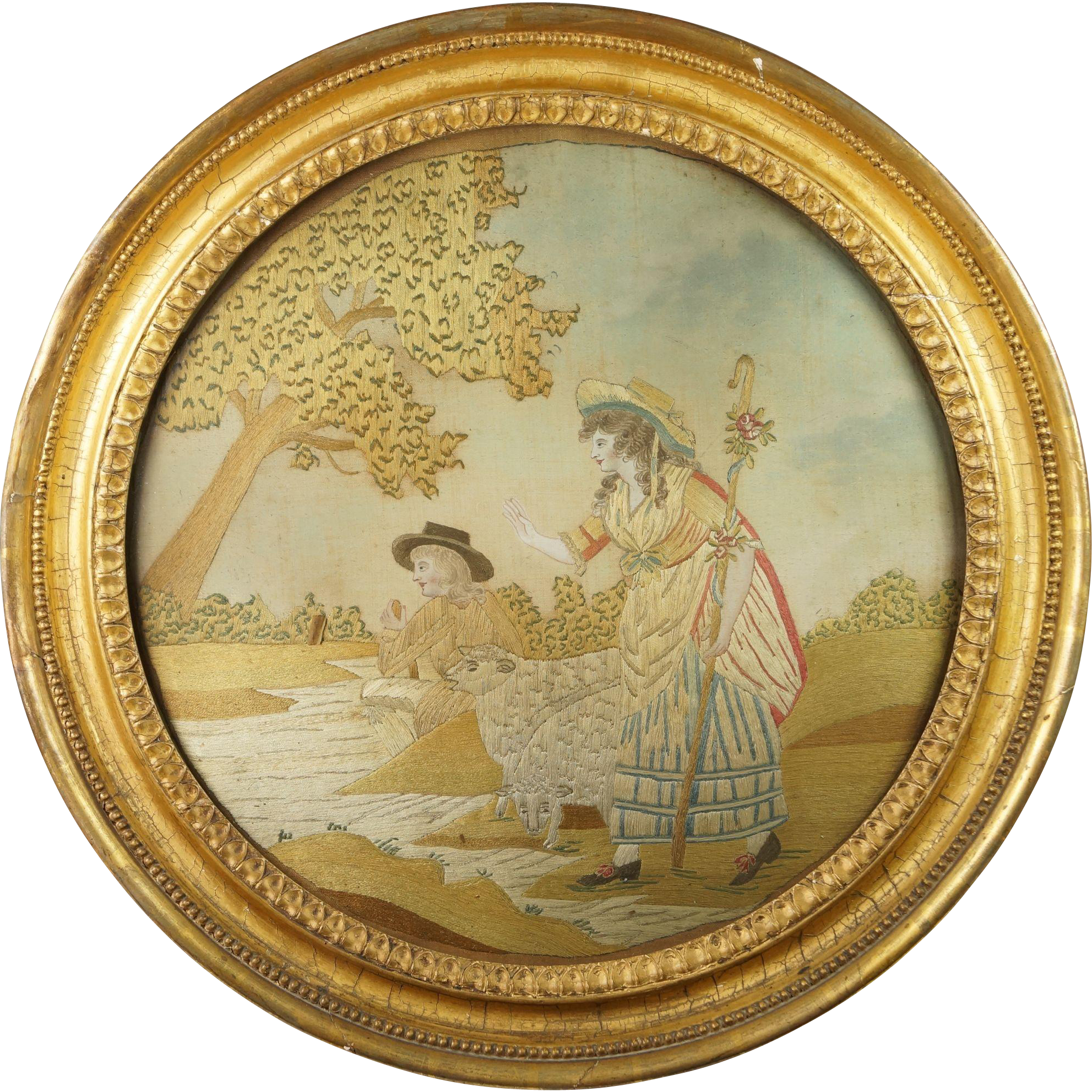 Large and Impressive 18th Century Silkwork In Desirable Circular Frame Circa 1780