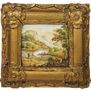 Circa 1840 English Miniature Hand Painted Porcelain Plaque Topographical River Landscape Salmon Fishing