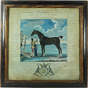 Original English 18th Century Hand Colored Horse Racing Print Victorious Circa 1755 Thomas Spencer Equestrian