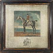 Original English 18th Century Hand Colored Horse Racing Print Starling Duke of Ancaster Thomas Spencer Circa 1750 Equestrian
