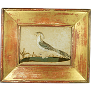 Antique Georgian Laid Silk Bird Needlework On Laid Paper Stunning Antique Frame Circa 1800