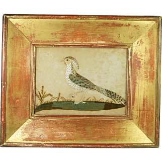 Antique Georgian Laid Silk Bird Needlework On Laid Paper Stunning Antique Frame Circa 1800