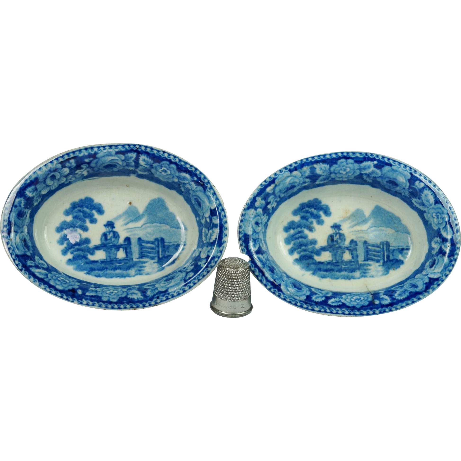 Antique Early Staffordshire Blue And White Transferware Salt PAIR Doll Size Circa 1810 AF