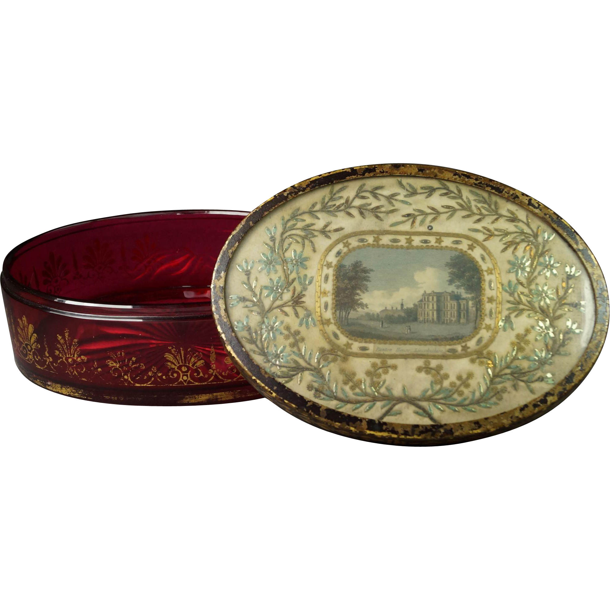 Antique Circa 1815 Cranberry Glass Box with Silkwork Lid of Panton House England George III Era Rare