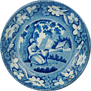 English Pearlware Plate Blue and White Transferware  Sheep Shearer Pattern Regency Circa 1815