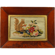 Antique Victorian Small Squirrel Needlework Wool Work Embroidery Lovely Frame Circa 1860