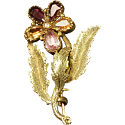 Early 19th Century Georgian Flower Brooch Multi Colored Foil Paste Closed Back Stones Circa 1820 STUNNING