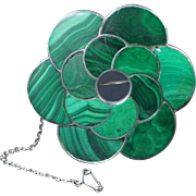 19th Century Victorian Scottish Brooch Malachite Sterling Silver LOVELY Quality Circa 1880