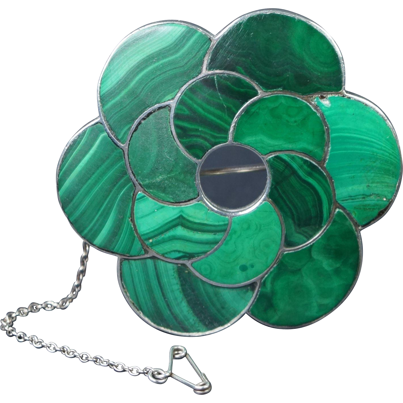 Victorian Scottish Brooch Malachite Sterling Silver LOVELY Quality Circa 1880