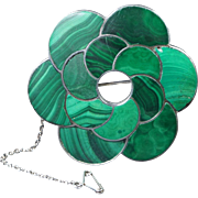 19th Century Victorian Scottish Agate Malachite Sterling Silver Brooch