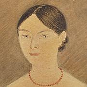 RESERVED ET Circa 1815 Portrait Miniature Watercolor On Paper English Regency Period Folk Art Look