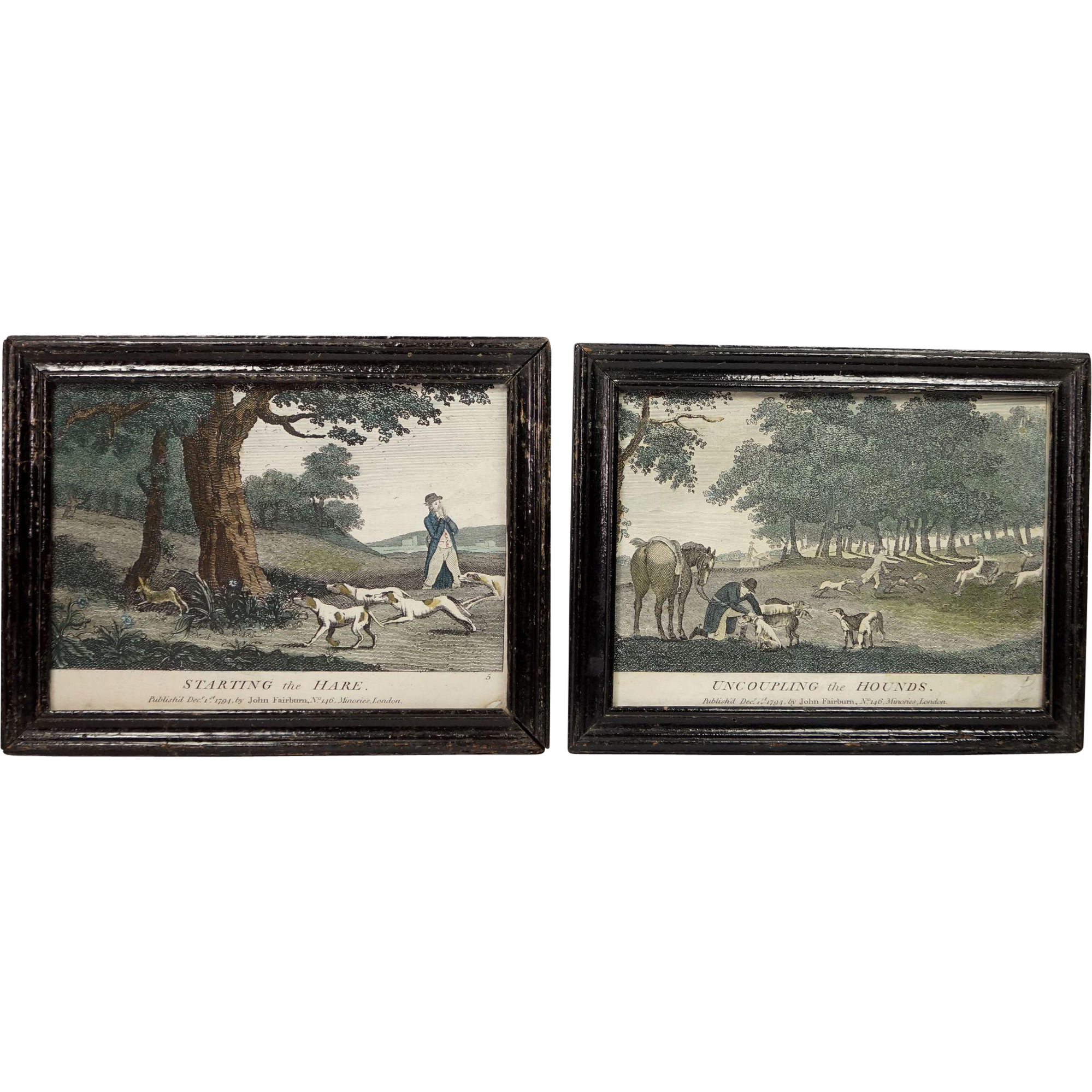 Georgian Colored Engraving Pair John Fairburn Circa 1794 Hunting