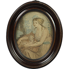 Georgian 18th Century Miniature Engraving Oval Frame Angelica Kauffmann Innocence Circa 1790