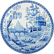 Georgian Spode Blue and White Transferware Rome Tiber Pattern Plate Circa 1815