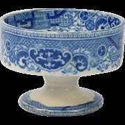 Circa 1820 Pearlware Blue And White Salt Cellar Willow Pattern English Georgian