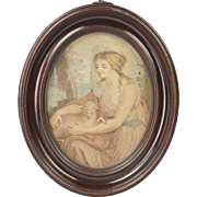 Antique 18th Century Miniature Print Oval Frame Circa 1790
