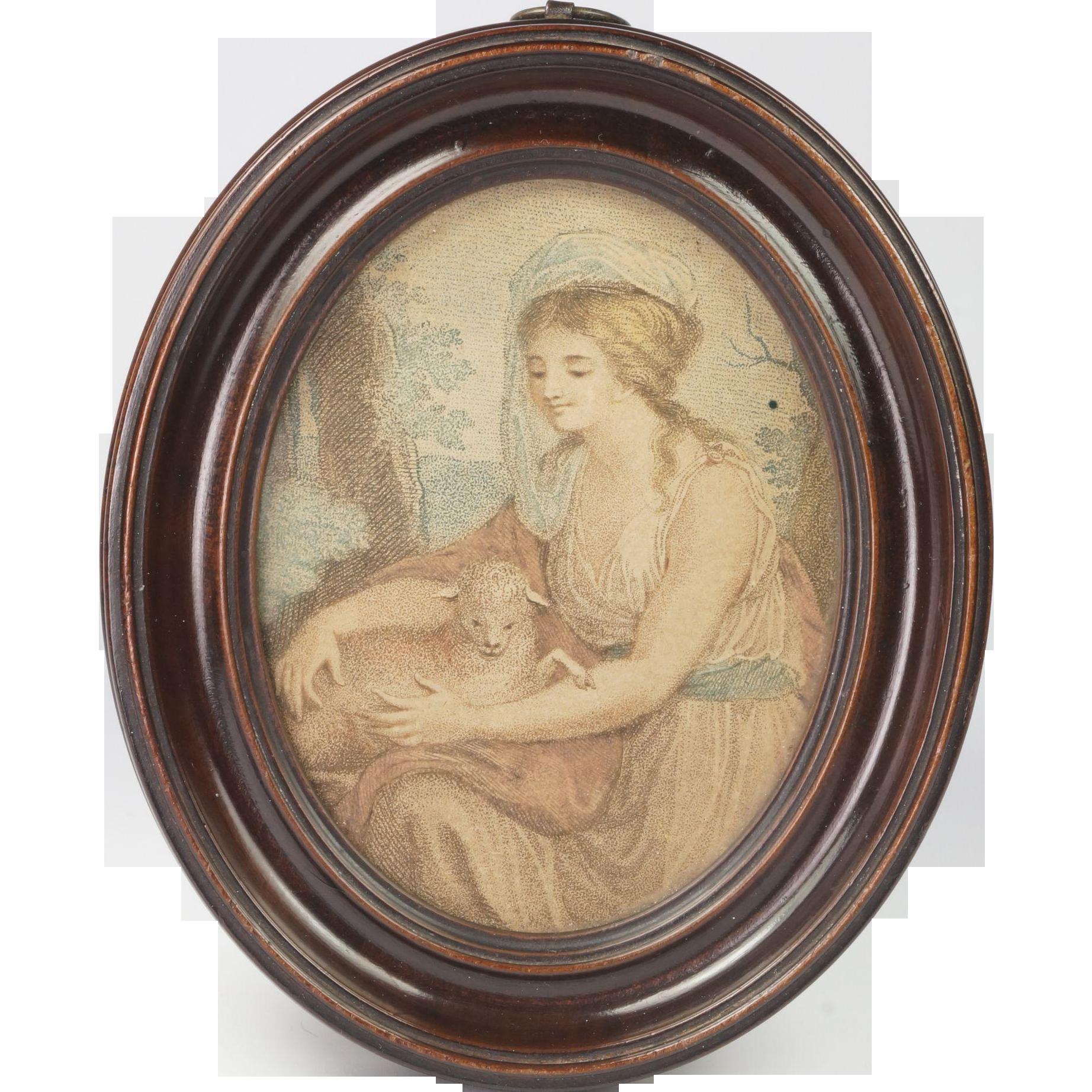 Antique 18th Century Miniature Print Oval Frame Circa 1790