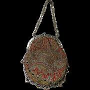 Antique 19th Century Victorian Reticule Purse Bag Paisley Cut Steel Beadwork Beaded Circa 1850