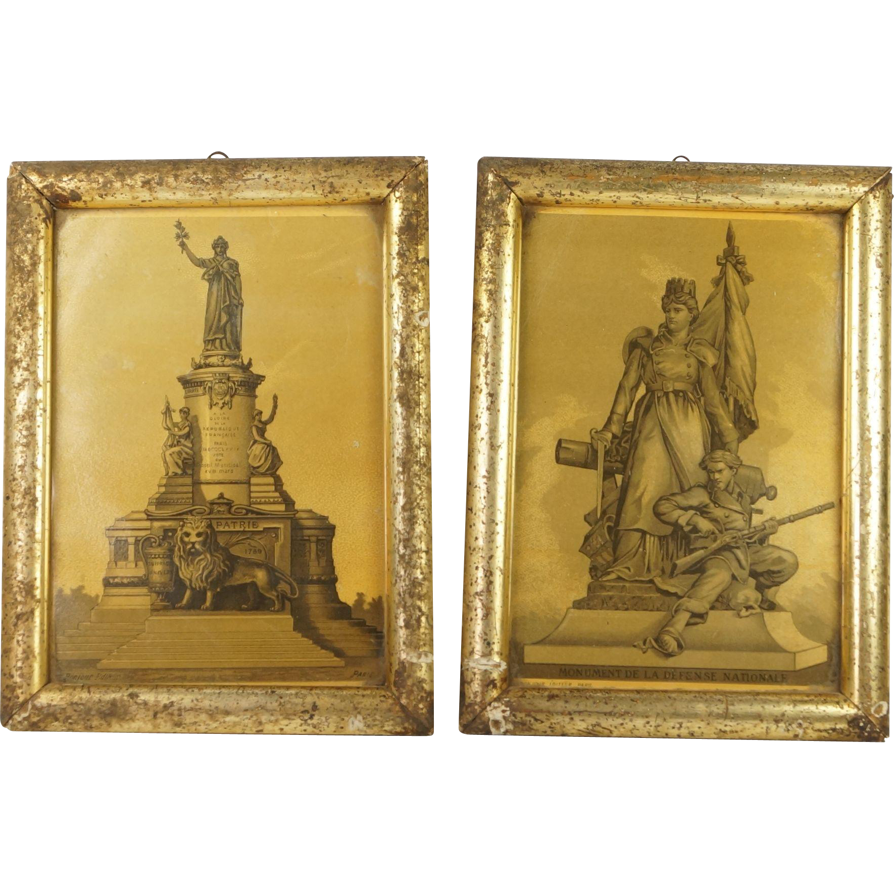 Antique Pair French Lithographs Circa 1880's Rare Gold Coloring