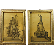 19th Century Pair French Lithograph Prints Circa 1880's Rare Gold Coloring