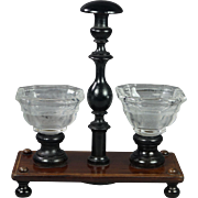 Antique 19th Century French Glass Rosewood Ebony Condiment Set Trinket Caddy Circa 1850 Napoleon III