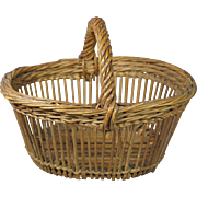 19th Century French Small Wicker Basket Circa 1880 Charming