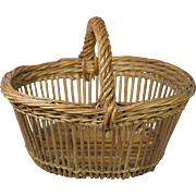 Antique 19th Century Small  French Wicker Basket Victorian Circa 1880