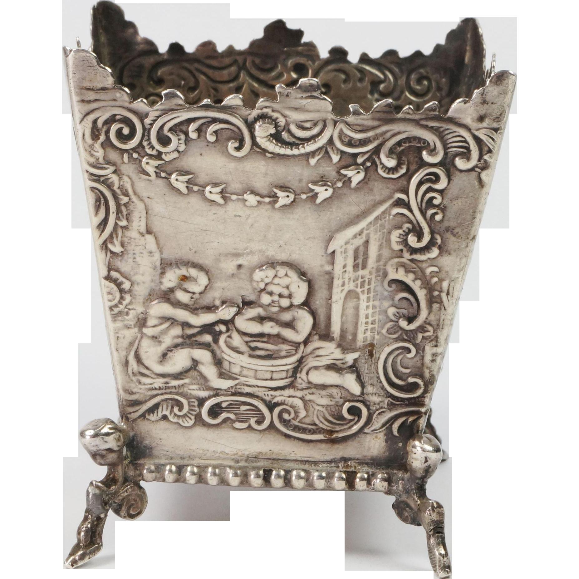 Antique 19th Century Miniature Dutch Silver 930 Repousse Jardinière Fully Hallmarked Circa 1800s