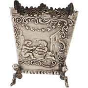 19th Century Miniature Dutch Sterling Silver .930 Repousse Jardiniere Pot Perfect for Doll